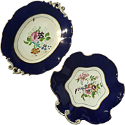 Two 19th Century French Cobalt And Floral Gold Trimmed Porcelain Plates