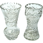 Vintage Set Of Two Cut Crystal Vases