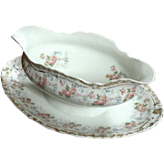 Antique Jean Pouyat French Limoges Porcelain Sauce Boat With Liner