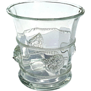 Lion's Head Glass Ice Bucket With Medallions
