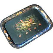 Large 19th Century Floral And Pheasant Tole Tray