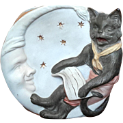 19th Century German Bisque Cat And Moon Pencil Holder