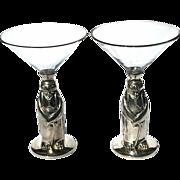 Art Deco Towle Silverplated Penguin Martini Glasses