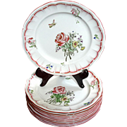 Set Of 10 Keller & Guerin Luneville France Old Strasbourg Flower & Insect Plates, Circa 1889