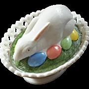 Vintage Signed Westmoreland Glass Rabbit On Nest