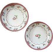 Pair Of Early 19th Century Soft Paste Tea Bowls With Polychrome Painted Flowers