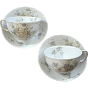 Antique Pair Of Haviland Limoges French Porcelain Cups And Saucers