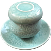 Asian Celadon Porcelain Tea Cup With Strainer