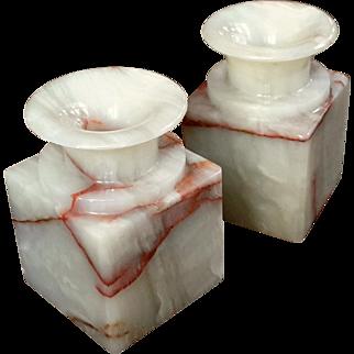 Vintage Pair Of Agate Stone Vases