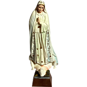 Vintage Plaster Figure Of Our Lady Of Fatima