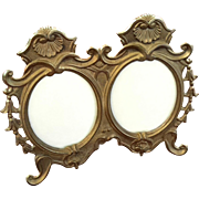 Vintage Brass Double Oval Picture Frame