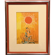 Mid-Century Vintage Signed Isabella Isuorch Sunflower Painting