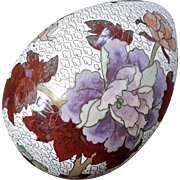 Chinese Floral Cloisonne Egg