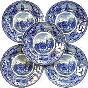 Set Of Five Staffordshire Landing Of The Pilgrims Plates