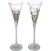 Pair Of Venetian Murano Glass Champagne Flutes