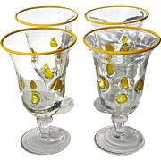 Set Of Four Hand-Blown Art Glass Lemonade Glasses