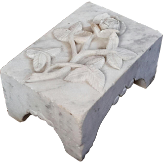 19th Century Victorian Marble Rose Grave Marker