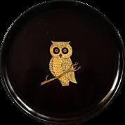 Vintage Couroc Of Monterey Round Owl Tray