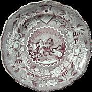 Staffordshire Millennium Mulberry Transferware Peace On Earth Plate, Circa 1835