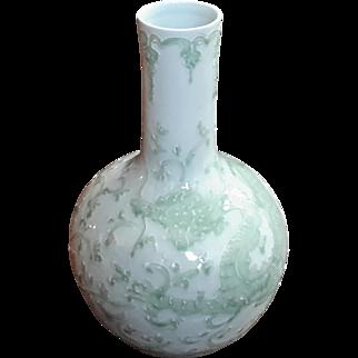 Chinese Celadon Porcelain Dragon Vase On Rosewood Stand