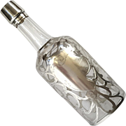 Sterling Silver Overlay Glass Decanter Bottle