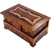 Italian Marquetry Inlaid Wood Jewelry Box