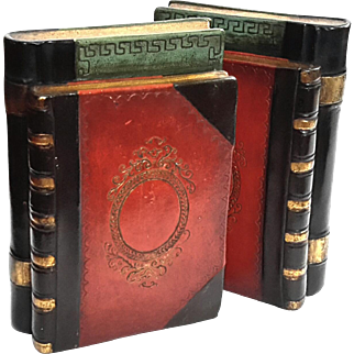 Vintage Borghese Faux Book Plaster Bookends