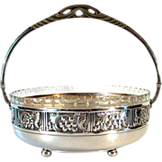 Antique 800 Continental Silver Basket With Cut Glass Liner, Circa 1910