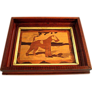 Early Vintage Framed Marquetry Inlaid Wood Terrier Dog, Circa 1920