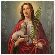 18th Century Painting Of Saint Agnes Holding A Lamb And The Martyr's Palm