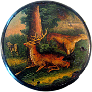 Early 19th Century Hand-Painted Deer Snuff Box