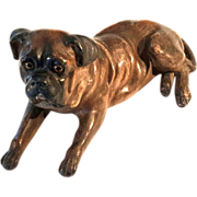 Large 19th Century Composition Reclining Mastiff Dog With Glass Eyes