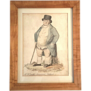 18th Century Signed British Character Portrait Of Mr. F. Smith