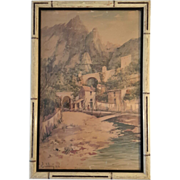 Antique Signed And Dated Southwest Landscape Water Color, Circa 1910