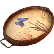 Vintage Woven Basket Serving Tray With Butterfly & Dried Flowers