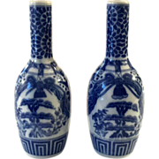 Pair Of 19th Century Chinese Blue & White Porcelain Vases