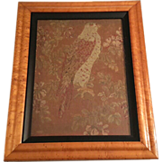 19th Century Framed Needlepoint Of A Hawk In A Flowering Tree