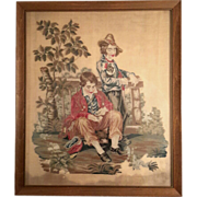 19th Century Framed Needlepoint Of Two Young Men