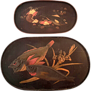 Set Of Two 19th Century Japanese Lacquered Oval Trays