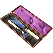 19th Century Silver Plated Fish Set In The Original Leather Box, Circa 1890