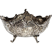 Antique Continental 800 Silver Footed Putti Bowl, Circa 1900