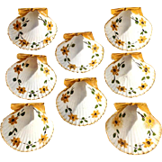 Set Of Eight Early Vintage Painted Scallop Shell Nut Or Mint Dishes, Circa 1930