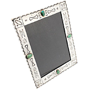Large Vintage Sterling Silver And Torquoise Navajo Picture Frame