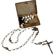 Vintage Glass Bead Rosary In The Original Silverplated Book Box With A Relief Of Pope John XXIII, Circa 1958