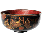 19th Century French Chinoiserie Black Lacquer Papier Mache Bowl