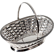 Vintage Gorham Silverplated Woven Basket With Handle