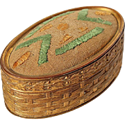 Antique Gilt Metal Sewing Needle Case With Hand-Embroidered Cushion Top, Circa 1900