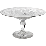 Antique Pairpoint Glass Pedistal Bowl, Circa 1890