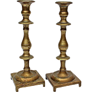 Pair Of Early 19th Century Solid Brass Candlesticks, Circa 1850