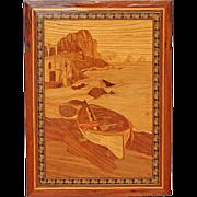 Vintage Italian Inlaid Wood Marquetry Landscape Panel